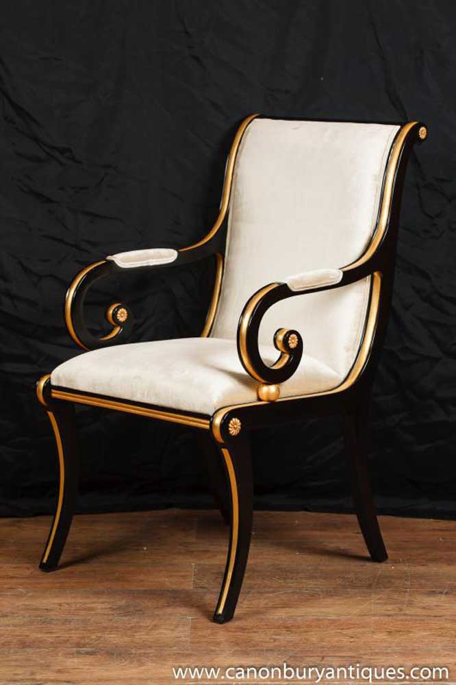 French Empire Black Lacquer Arm Chair Seat Fauteil