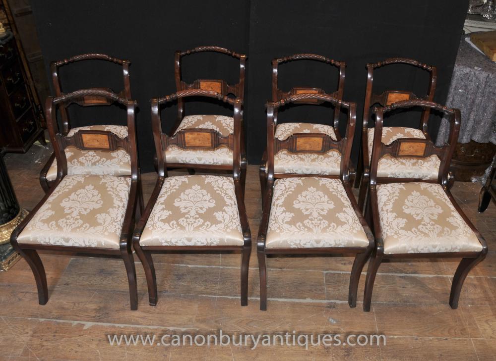 Set 8 Mahogany Regency Dining Chairs Rope Backs