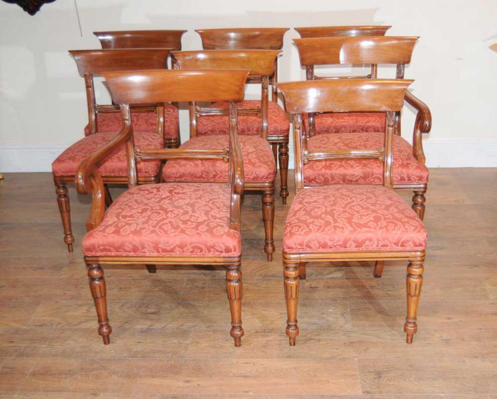 8 Regency Bar Back Dining Chairs Mahogany Diner