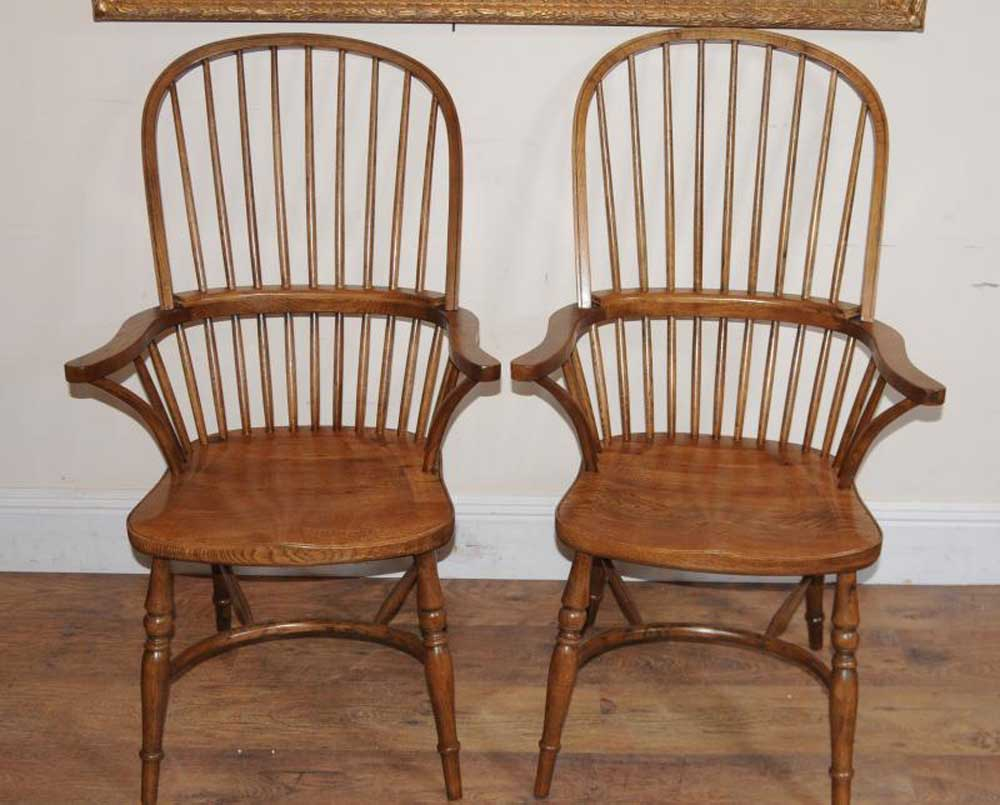 Pair Windsor Dining Arm Chairs Windsors Armchairs