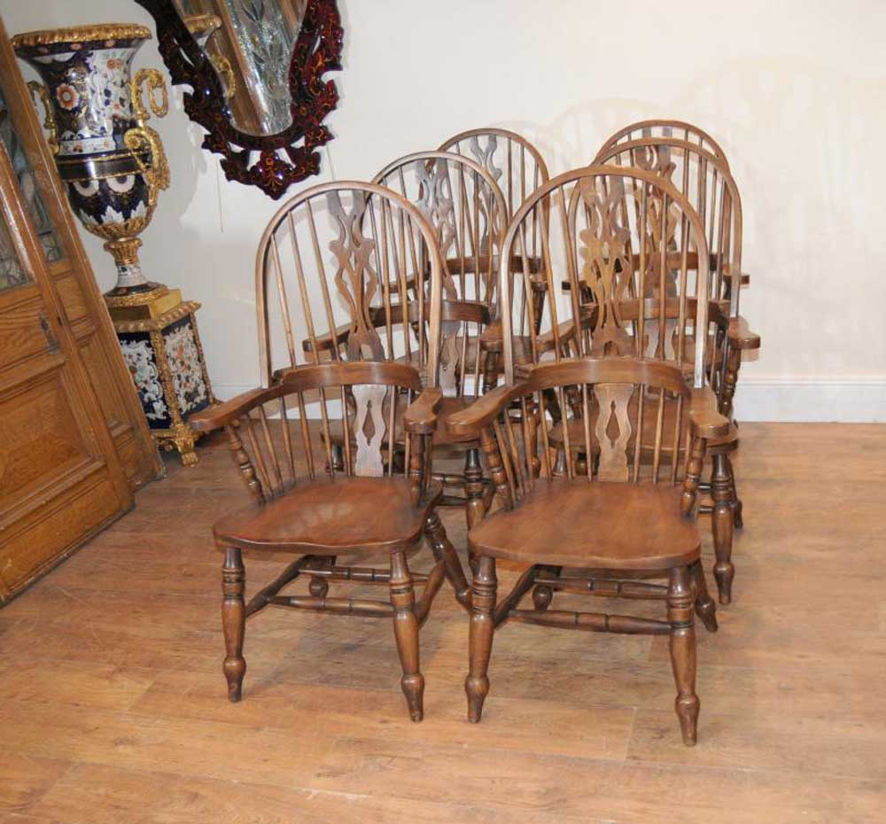 Set 6 Windsor Arm Chairs Armchairs Oak Farmhouse