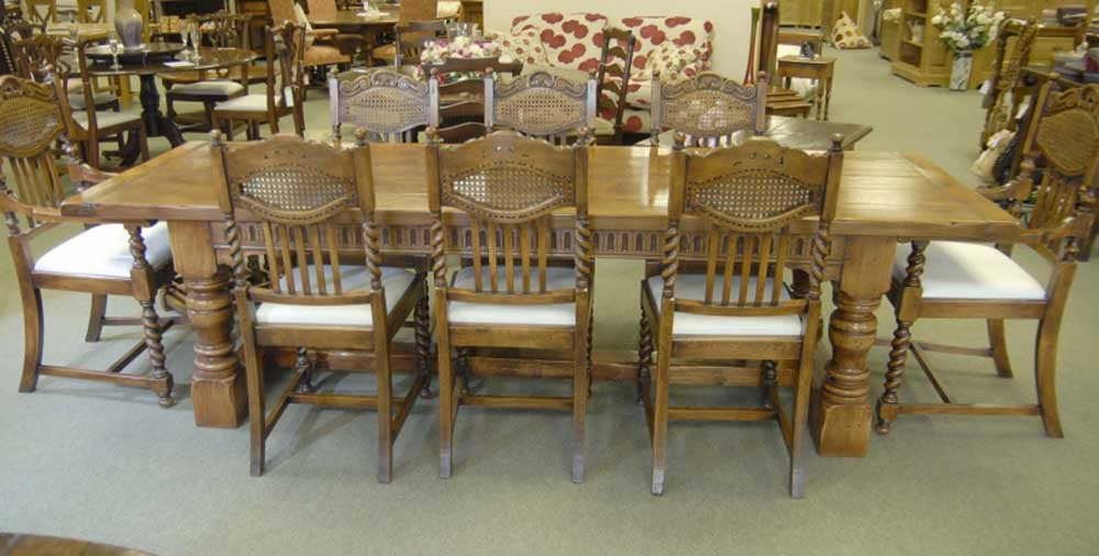 8 English William Mary Rustic Dining Chairs Barley Twist