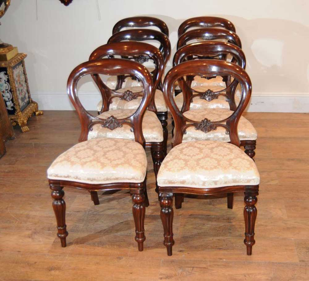 8 Mahogany Victorian Dining Chairs Balloon Back