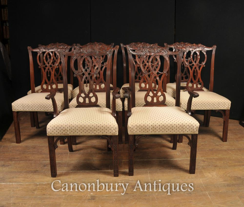Set 10 Mahogany Chippendale Dining Chairs English Furniture
