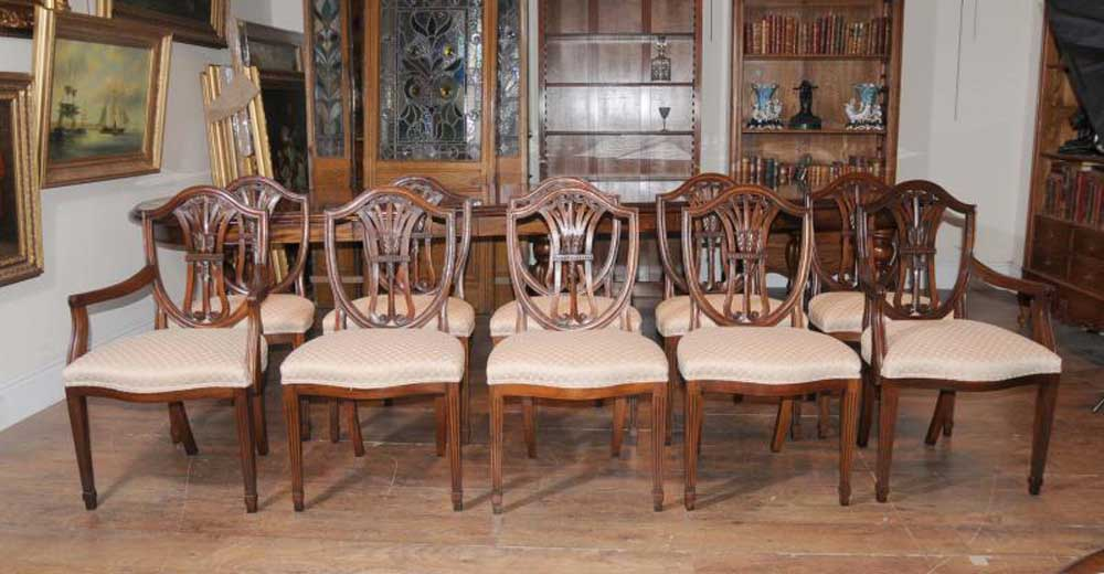 Set 10 Regency Sheraton Dining Chairs Mahogany Furniture Antique Dining Chairs