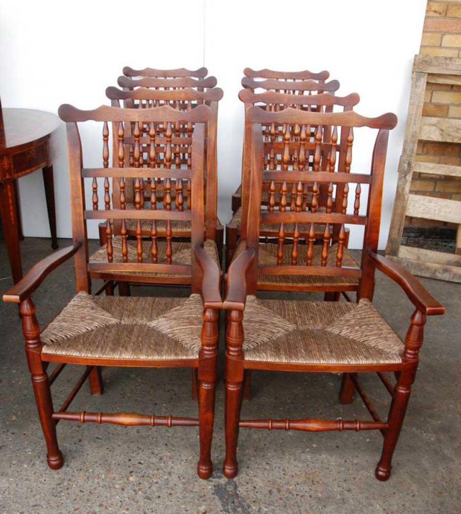Set 8 English Pad foot Spindle Back Chairs Spindleback