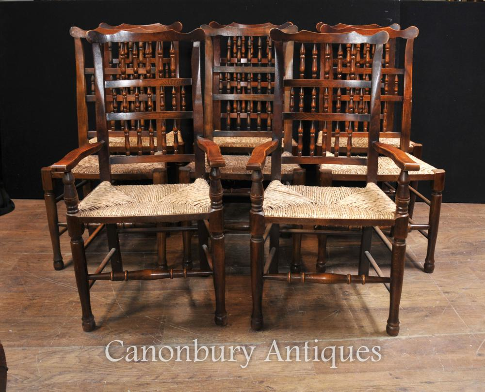 Set 8 Oak Spindleback Dining Chairs Kitchen Farmhouse Diner