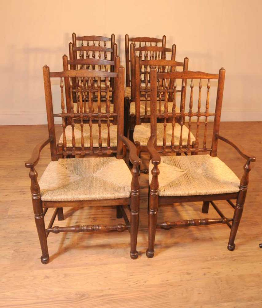 Set 8 Oak Spindleback Kitchen Dining Chairs Spindle Back