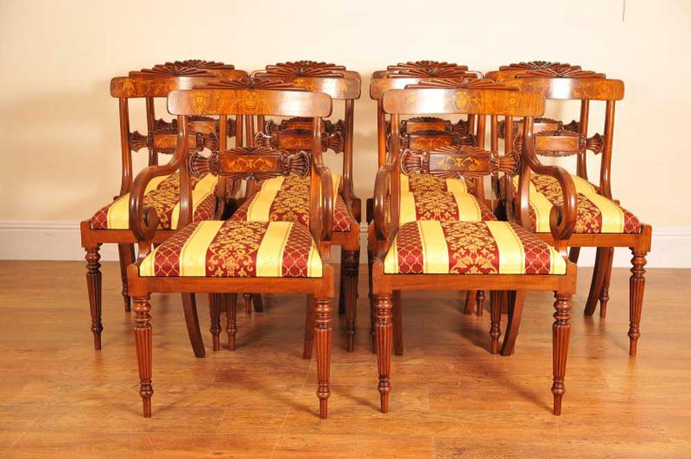 Set 8 Walnut Inlay Regency Dining Chairs Chair English