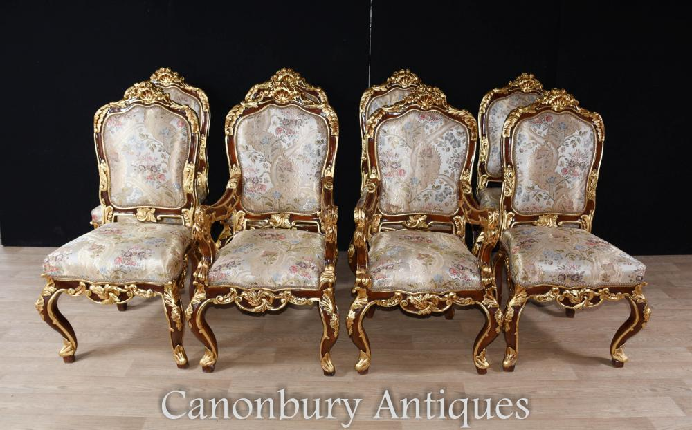 Set 8 French Louis XVI Dining Chairs Gilt Diners