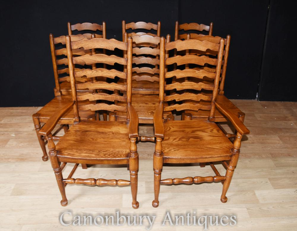Set 8 Ladderback Oak Kitchen Dining Chairs