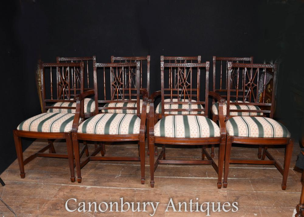 Set 8 Regency Mahogany Dining Chairs Diners