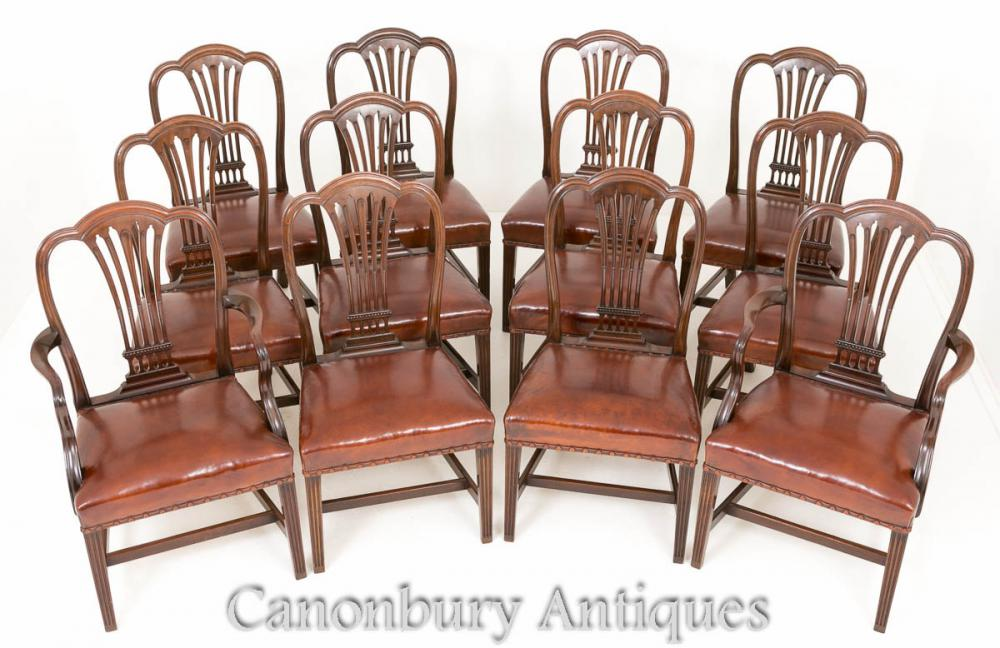 Antique Hepplewhite Dining Chairs - Set 12 Mahogany Chair 1880