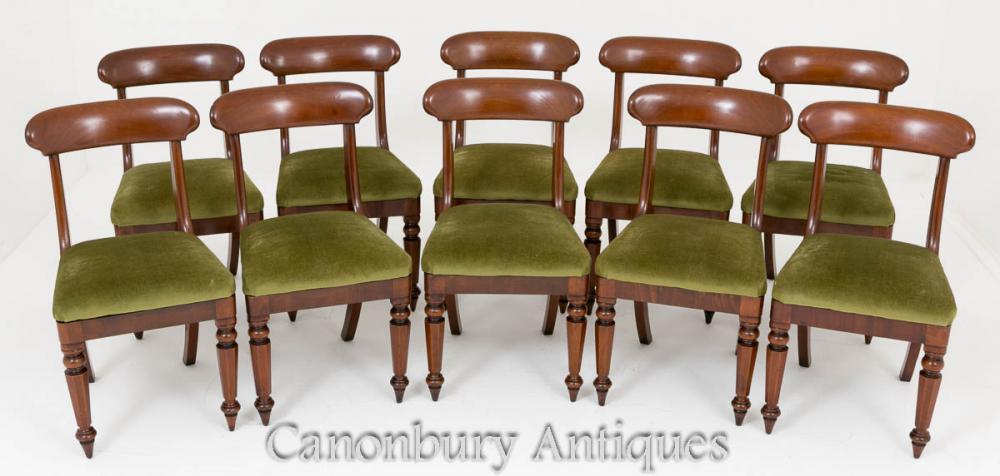 Set Mahogany Dining Chairs Victorian Set 10