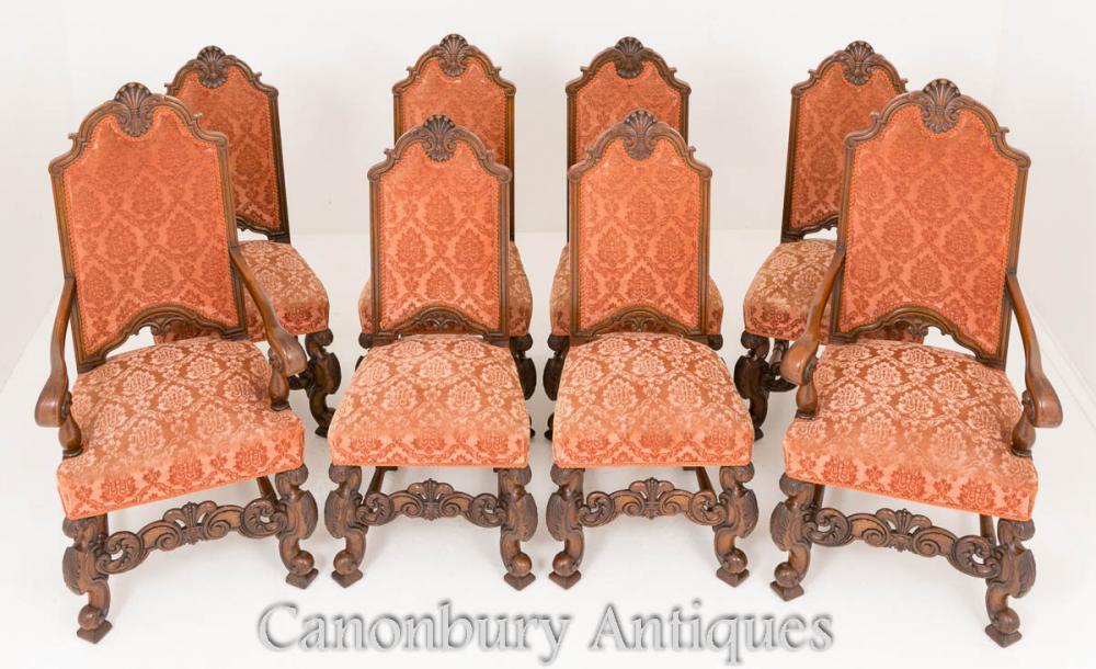 Antique Oak Dining Chairs Set 8 Circa 1870