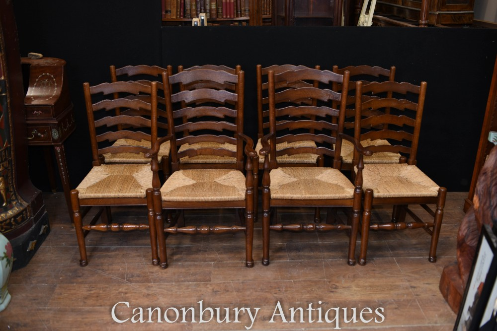 Ladderback Chairs - Set 8 Oak Kichen Dining Chairs