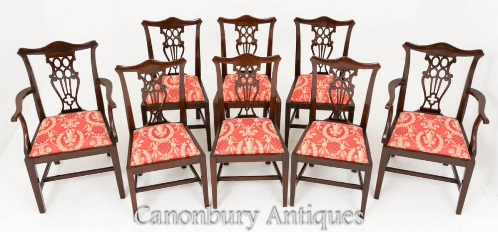 Set 8 Mahogany Chippendale Dining Chairs