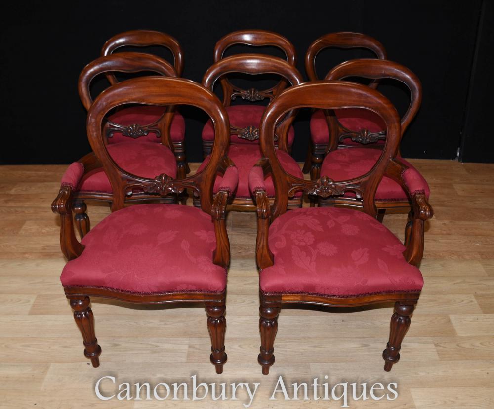 Set 8 Mahogany Victorian Balloon Back Dining Chairs