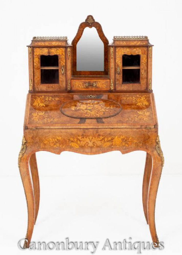 Antique French Desk - Walnut Bonheur De Jour 1860